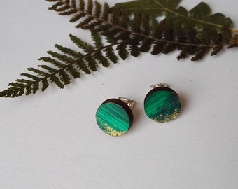 Wood Hand Painted Circle Stud Earrings in Green,Blue and Gold