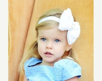 White Hair Bow, Satin Rosette Hair Bow w/ Crystal Center Headband or Hair Clip, The Virginia, Baptism, Baby Child Girls Headband