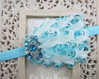 Aqua / Light Turquoise & White Feather Headband w/ Crystal Accent, Baby Child Girls Headband Adult