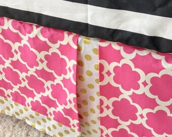 Taza Hot Pink Crib Skirt, Gold Dot Crib Skirt, Tailored Crib Skirt, Gold Crib Skirt, Baby Bed Skirt, Polka Dot Crib Skirt, Boy Crib Skirt