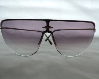 vintage oversize sunglasses 80s retro eyewear hipster sunglasses black and gold frameless glasses foster grant NOS