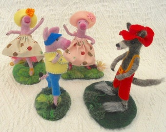 Ballet dancing pigs, big bad wolf, felt 3 pigs and wolf, waldorf animals, needle felted pigs, needle felted wolf, felted nursery rhyme,