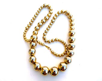 Gorgeous Graduated Gold ball beaded Necklace, Antique Gold filled necklace, Vintage 1930s Gold Chain Necklace