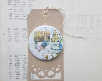 Peter Rabbit Brooch - Greetings Badge - custom birthday card - party favours - Alice Pin - Spiderman - Winnie the Pooh - Flower Fairies