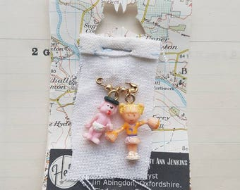 UK Handmade - OOAK Lapel Pin - Vintage Polly Pocket - Cheerleader Gift - Puppy Dog Pin - Childish Jewellery