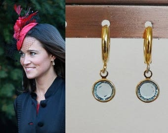 Pippa Middleton Aquamarine Crystal Gold Hoop Swarovski Crystal Drop Earrings