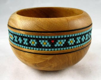 Handturned Wood Bowl with Beaded Band Inset, Handmade by Greg Hanson 2017