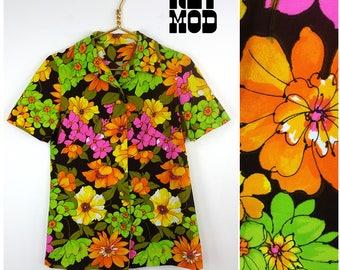 Bright Vintage 70s Brown, Green, Orange, Pink Flower Power Hippie Shirt