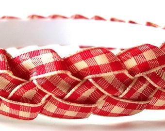 Red & Cream Braided Ribbon Headband 3/4 Inch