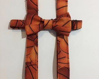 Basketball Matching Bow Tie and Suspender Set for Toddler to 6-7 yr old