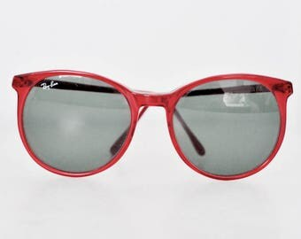 Vintage Style C Ray-Ban Sunglasses, Red Ray-Ban Sunglasses, Vintage Ray-Ban, Ray-Ban Carrying Case, 1980's Sunglasses