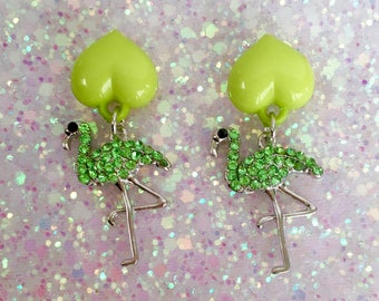 Flamingos Love Kisses Earrings - Green - Pinup - Retro - Rockabilly - 1950s