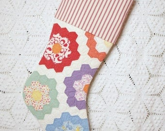 Classic Vintage Quilt Stocking | Grandmother's Flower Garden Vintage Quilt Christmas Stocking with Vintage-StyleTicking Cuff