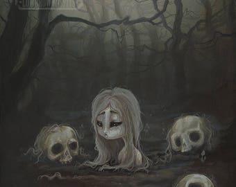 skull girl fantasy dark Gothic lowbrow art print- The Human Garden
