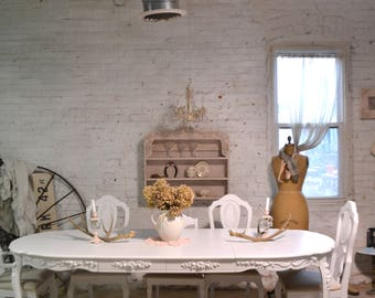 dining table painted cottage chic shabby french dining table with two leaves tbl243 - French Dining Table