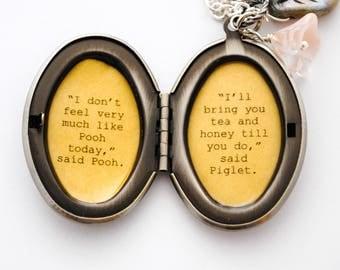 Winnie the Pooh Locket - Winnie and Piglet Locket - Friendship Locket - I don't feel much like Pooh today....I'll bring you honey and tea