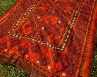 """Big Vivid Ghal Mori Flatweave Carpet Kilim Runner Hand woven in wool. Tapis. 9 ft 6"""" x 6 ft 4""""   290 x 193 cm"""