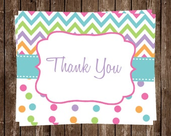 Rainbow Baby Shower Thank You Cards, Rainbow, Rainbow Baby Shower, Polka  Dots,