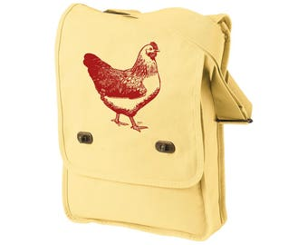 Backyard Chickens Cross-body field bag, Messenger Bag, Chicken Coop, Farm Animal,  Urban Farmer Gift, Pigment Dyed Cotton Canvas Tote Bag