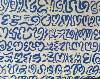 Brandon Mably OOP, rare, Babble, blue white, Kaffe Fassett collective, script fabric, writing fabric, remnant