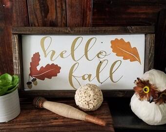 Hello Fall Leaves and Acorns Wood Sign / Farmhouse Sign / Inspirational Decor /  Shabby Chic Decor
