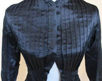 Antique Victorian 1880s Black Satin Pleated Women's Long Sleeve Jacket