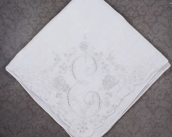 Vintage White Cotton Embroidered and Appliqued E Initial Cotton Handkerchief