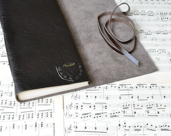 Leather Guitar Book - Leather Music Book with Tab Paper and Pick Pocket