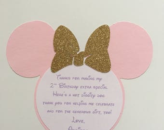 Minnie Mouse Thank You Card Pink Gold Purple Minnie Mouse Inspired Cards - Envelopes Included