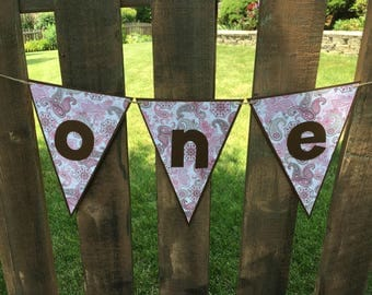 One Pink Brown High Chair Sign Pennant Flag Banner One Cowboy Banner Cowgirl Banner Triangle Photo Prop Country Western Birthday Paisley