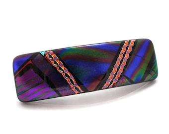 Medium Dichroic Barrette, Fused Glass Barrette, Purple Barrette, French Clip Barrette, Thick Hair Barrette