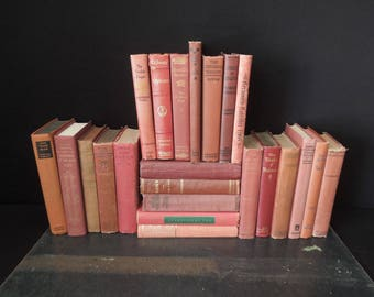 Rustic Book Wall Worn Red Clay  - Vintage Books for Decor - Distressed Books by Color By the Foot - Home Staging