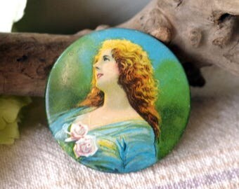 Antique Lithograph Tin Pocket Mirror - Victorian Red Haired Lady Pocket Mirror