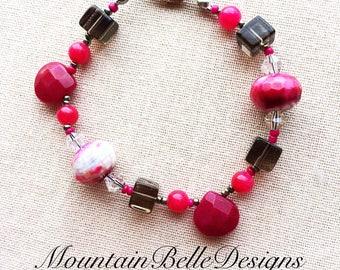 Hot Pink Agate Bracelet - Handmade Smokey Quartz Bracelet - Hot Pink Bracelet - Brown Bracelet - Pink Stone Bracelet - Brown Stone Bracelet