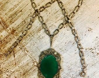 German Art Deco Sterling Silver Green Chrysoprase Marcasite Vintage Antique Necklace Art Deco Jewelry