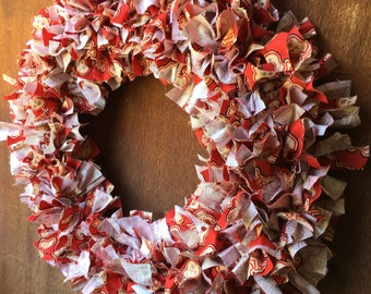 Fabric Scrap Wreath in Red and Cream Skulls