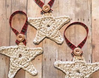 Christmas Crochet Star Ornament, Rustic Farmhouse Set of 3