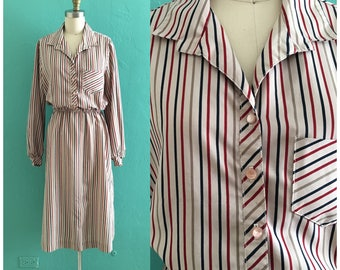 70's striped shirt dress // multi color secretary dress