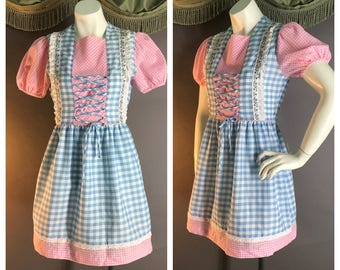 60s dress 1960s vintage PINK BLUE GINGHAM folkloric charming cotton puff sleeve mod dolly mini dress