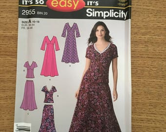 Sewing Pattern ~ Simplicity 2955 ~ Easy Women's Dress Top Skirt