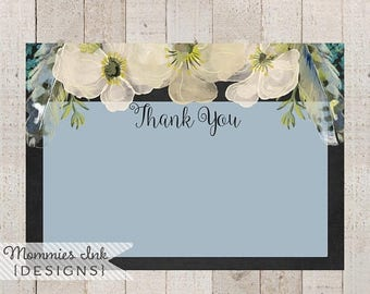 20% OFF SALE Spring Thank You Note,Chalk Floral Thank You,Boho Chic Feathers Thank You, Watercolor Poppy Flat Thank You Note, Boho Thank You