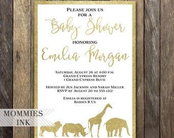 Gold Safari Baby Shower Invitation, Baby Shower Invitation, Modern Baby Shower, Safari Invite, Jungle Invite, Safari Party, Giraffe, Lion