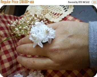 SALE White Topiary Satin Millinery Flower Bridal Ring. Bridesmaids Ring. Flower Bouquet ring. White Wedding ring. Bride's corsage ring