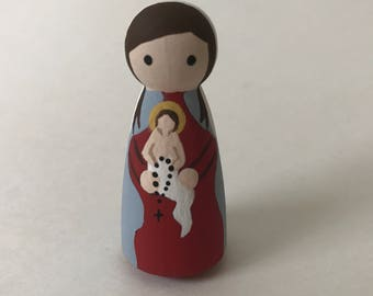Our Lady of the Rosary - Wooden Peg Doll