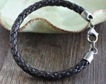 Mens Brown Nappa Leather Braided Bracelet Sterling Silver Clasp