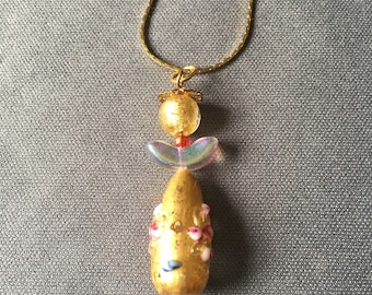 gold angel necklace with Murano beads