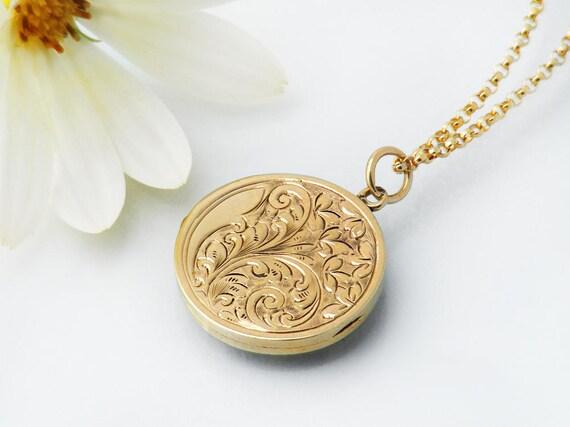 Solid 9ct Gold Edwardian Locket | Antique Locket .375 Hallmarked English Gold | 9 Carat Gold Photo Locket | Wedding Necklace - 20 Inch Chain