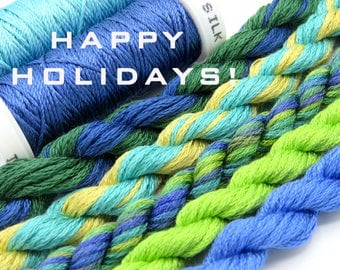Free Design, PDF, Silk thread, needlepoint design, silk fibers, embroidery thread assortment, blue, green, hand dyed thread, holiday gift