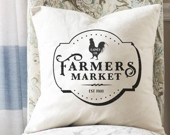 Farmers Market Decor, Farmhouse Pillow, Farmhouse Living Room Decor, Canvas Pillow Cover, Rustic Throw Pillow, Farmers Market Pillow