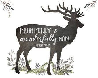 Fearfully and Wonderfully Made - Deer Wall Art, Woodland Nursery Wall Art, Boys Bible Verse Art, Deer Art Print, Rustic Boy Nursery